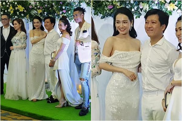 """Trường Giang - Nhã Phương mặc đồ trắng còn đứng giữa, fans """"tá hỏa"""" chẳng nhẽ """"cưới lại""""?"""