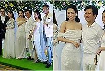 Trường Giang - Nhã Phương mặc đồ trắng còn đứng giữa, fans