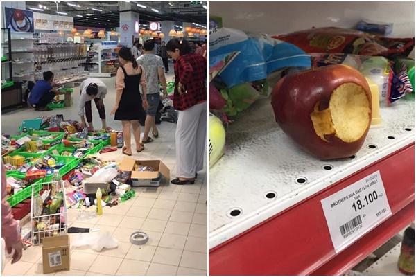 Góc giành giật hàng sale, người dân biến siêu thị thành bãi chiến trường toàn đồ ăn thừa và rác thải