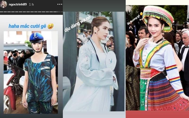 """Phản ứng của Ngọc Trinh khi thấy dân mạng """"thêm quần"""" cho bộ trang phục gây bão ở Cannes"""