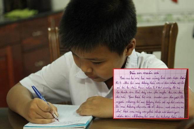 """Làm bài tập viết thư gửi bố mẹ, học sinh lớp 4 """"gây bão"""" khi nói về áp lực điểm 10"""
