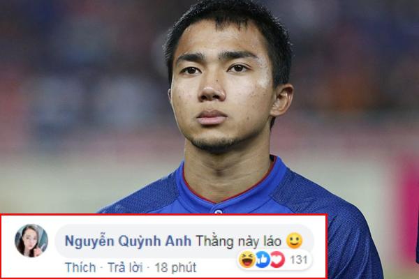 """Thôi xong, Quỳnh Anh """"lây"""" bệnh gắt của Duy Mạnh rồi, vào hẳn Facebook cầu thủ Thái Lan để mắng: """"Thằng này láo"""""""