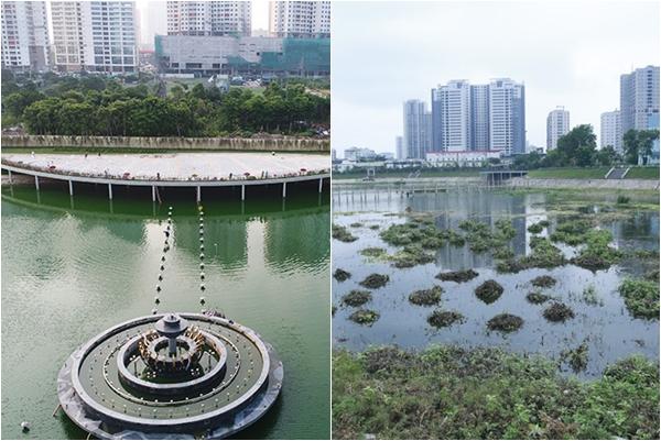"""Loạt ảnh cỏ dại, bèo tây phủ kín công viên nước 300 tỷ ở Hà Nội như """"đầm lầy"""" chỉ sau 1 năm hoạt động"""