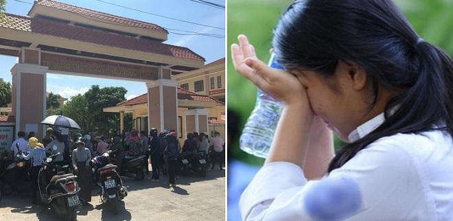 Thí sinh Quảng Bình quỳ khóc ở cổng trường thi vì biết tin thi lại môn Ngữ văn quá muộn