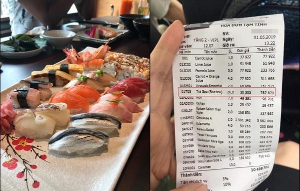 """""""Mắc bẫy"""" nhà hàng sushi nổi tiếng phố Kim Mã, nhóm bạn giật mình khi phải trả 12 triệu, riêng trà đá đã gần 1 triệu"""