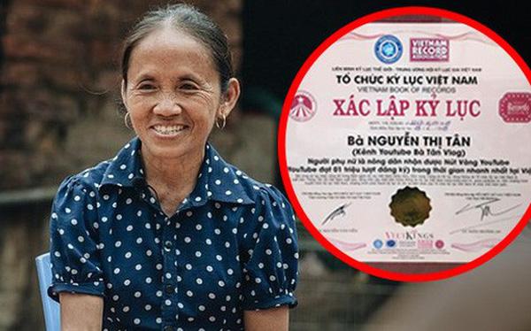Bà Tân Vlog được cấp chứng nhận xác lập kỷ lục Việt Nam cho kênh YouTube đạt 1 triệu lượt đăng ký nhanh nhất Việt Nam