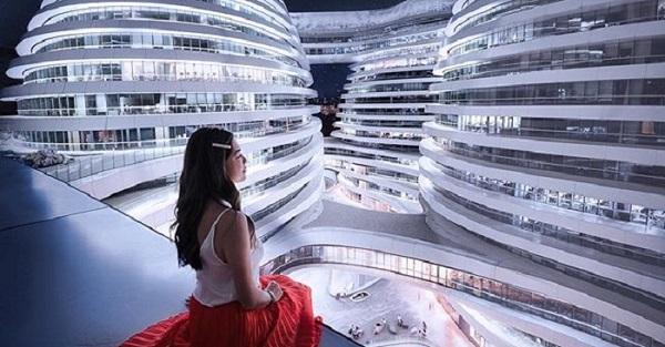 """Choáng váng trước trung tâm thương mại """"hình xoắn ốc"""" gây bão ở Trung Quốc"""