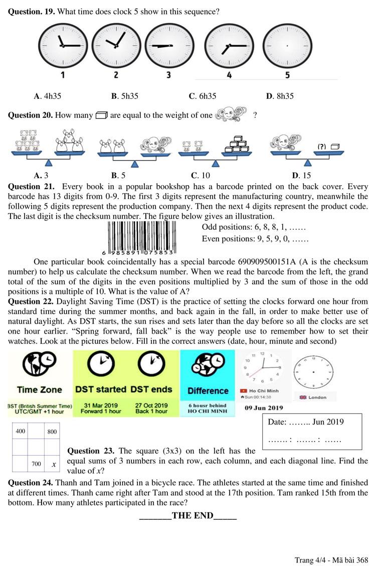 Ảnh 4: Đề thi lớp 6 - We25.vn