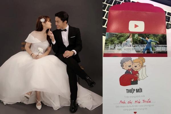 """Thiệp cưới có """"1-0-2"""" của cặp đôi lầy lội youtuber Cris Phan và hotgirl Mai Quỳnh Anh"""