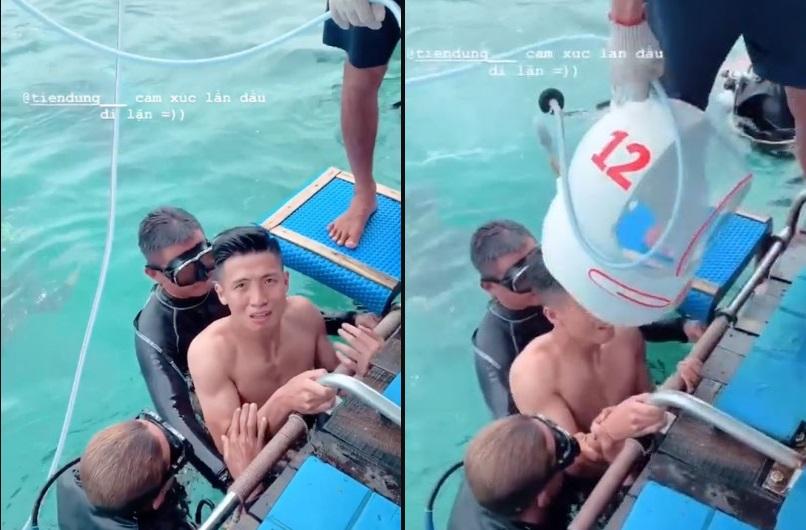 Dũng mãnh trên sân cỏ nhưng khi trổ tài lặn biển, Dũng Tư lại khiến fan bật cười bởi biểu cảm hoảng sợ đến phát khóc