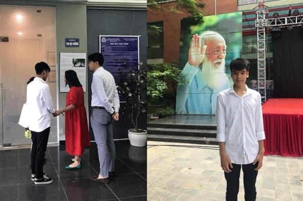 Xúc động giây phút cô Văn Thùy Dương gặp Đức Anh trong ngày nhập học lớp 10 trường Lương Thế Vinh