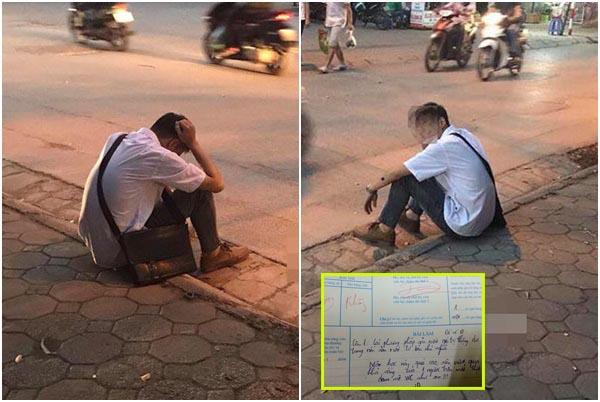 ÁP LỰC: Nam sinh thẫn thờ gục mặt trước cổng trường vì không làm được bài, sợ bị bố mẹ mắng