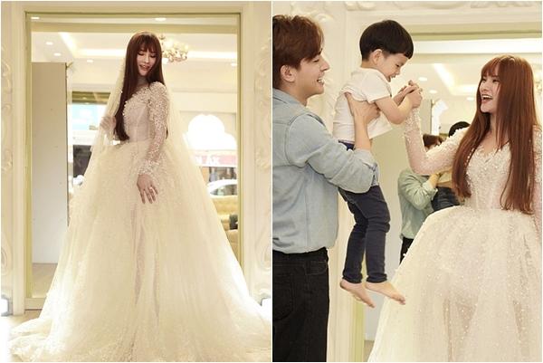 """Bất ngờ lộ hình ảnh Thu Thủy chọn váy cưới phồng to che bụng, cưới gấp trong tháng 7 này để """"chạy bầu""""?"""