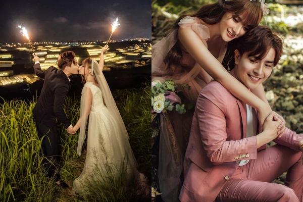 Ngất ngây với bộ ảnh cưới đẹp lung linh của Thu Thủy và ông xã kém 10 tuổi