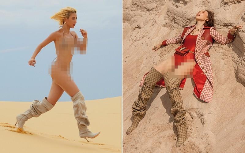 Quỳnh Anh Shyn gây sốt CĐM khi diện bikini nhỏ xíu, đi bốt bùng nhùng chạy tung tăng trên đồi cát