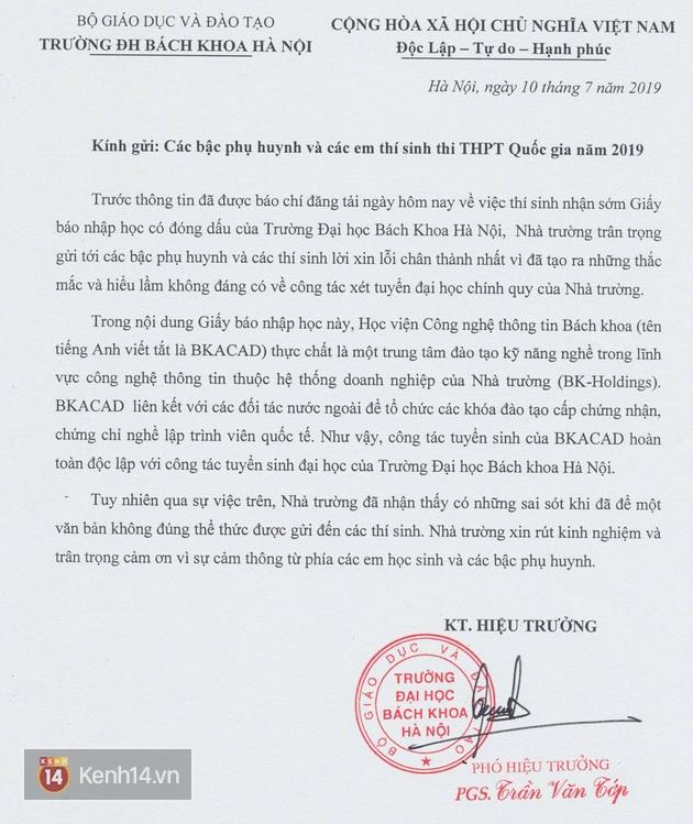 Ảnh 1: Công văn xin lỗi - We25.vn