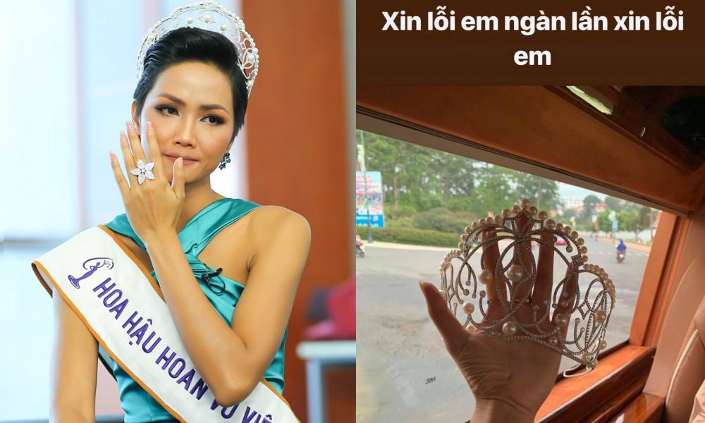 Hoa hậu H'Hen Niê khiến dân tình lao đao khi làm gãy vương miện Hoa hậu Hoàn vũ Việt Nam 2017