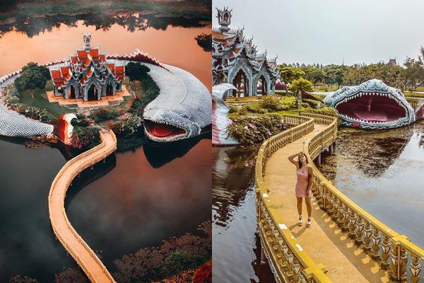 """Ngỡ ngàng trước ngôi đền được """"cá thần canh giữ"""" siêu to khổng lồ tại Thái Lan"""