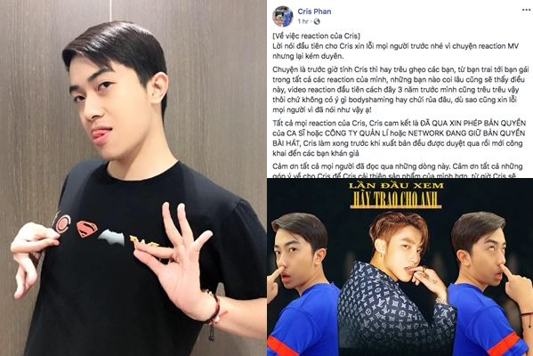 Cris Phan xin lỗi vì những từ ngữ phân biệt đã dùng cho MV của Sơn Tùng, tất cả chỉ vì thích trêu ghẹo chứ không hề có ác ý