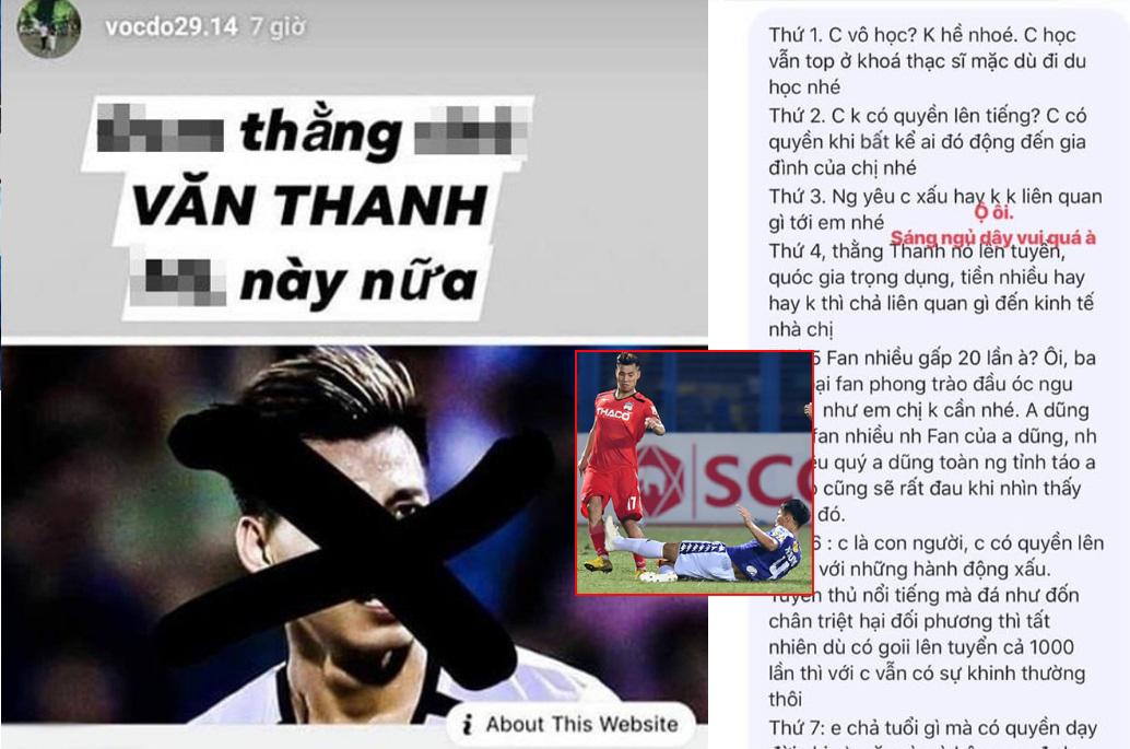 Va chạm hậu vệ CLB Hà Nội, Văn Thanh bị bạn gái cầu thủ này chửi: Văn Thanh là cái quái gì, toàn fan đầu óc ngu muội