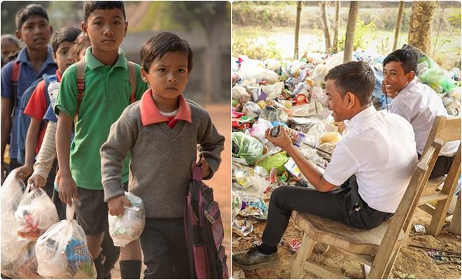 Trường học đặc biệt không thu học phí bằng tiền mà bằng... rác thải nhựa
