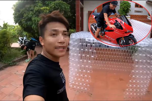 """Xây nhà bằng 5000 cốc nhựa rồi lái mô tô tông bẹp dúm để câu sub, youtuber còn thách thức CĐM: """"Ý thức tôi kém sẵn rồi"""""""
