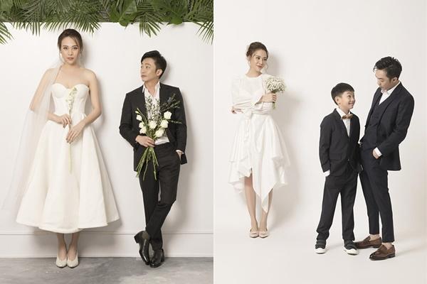 Cả bộ ảnh cưới đều hài hòa, riêng khoảnh khắc này trông Đàm Thu Trang như người khổng lồ đứng cạnh Cường Đô La