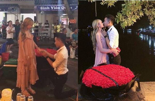 Chỉ mới yêu nhau 5 tháng, cô gái đã được bạn trai kém 3 tuổi quỳ gối cầu hôn bằng 365 bông hồng giữa phố
