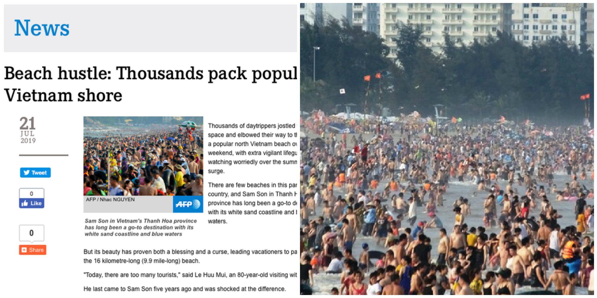 """Hình ảnh """"biển người"""" Sầm Sơn bất ngờ xuất hiện trên trang chủ hãng thông tấn Pháp (AFP)"""