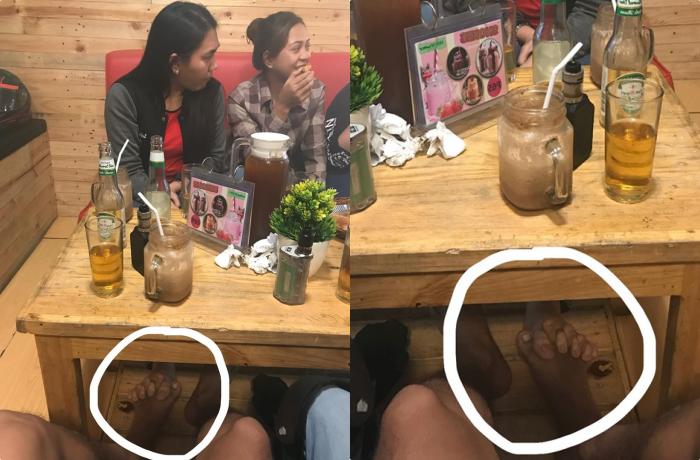 Lia máy chụp trộm 2 em gái trong quán ăn, lúc nhìn xuống chân mới phát hiện mối tình vụng trộm cười ra nước mắt