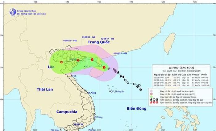 Tối ngày 1/8, bão số 3 sẽ tiến thẳng vào Vịnh Bắc Bộ và có khả năng mạnh thêm