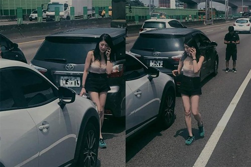 Va chạm xe cộ, cô gái bất ngờ nổi tiếng vì quá đỗi gợi cảm
