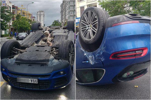 Porsche Macan S lật ngửa ngày mưa bão tại Bắc Ninh