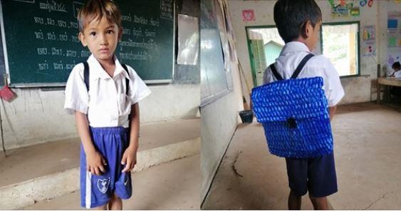Nhà nghèo không đủ tiền mua cặp sách, bố khéo tay tự đan cặp sách cho con trai đi học