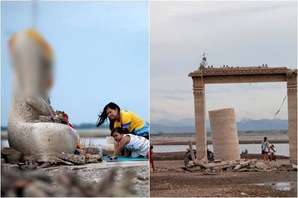 Người dân đổ xô đi xem pho tượng không đầu kì lạ nổi lên sau 20 năm hạn hán