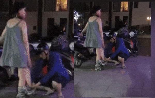 """""""Chồng người ta"""" thấy vợ mặc váy ngắn liền tự tay mặc quần kéo lên cho cẩn thân, ai ngờ bị dân mạng nói """"vô duyên"""""""