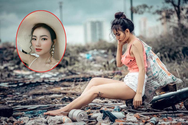 """Bị dân tình giễu cợt khi chụp ảnh giả nghèo, giả khổ đi lụm rác, gái xinh vẫn thản nhiên: """"Mình vui vì điều đó"""""""