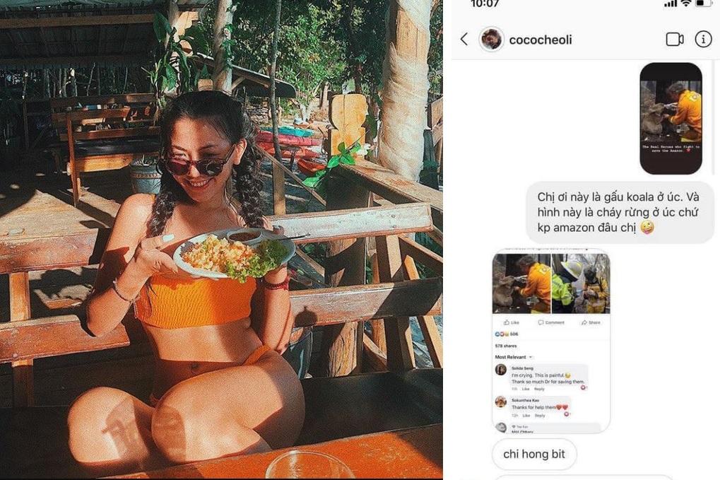 Vừa bị tố sống ảo, hot girl Cococheoli lại bị chỉ trích khi tỏ ra xót thương thảm họa Amazon nhưng đăng nhầm hình ở Úc