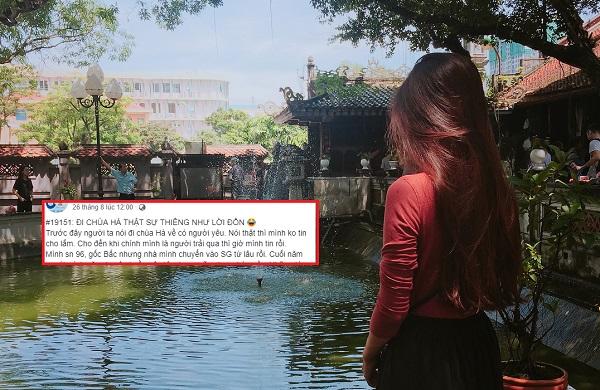 Lặn lội từ Sài Gòn ra chùa Hà cầu duyên, về nhà chỉ cần thả like, cô nàng cũng được crush quay sang tán tỉnh