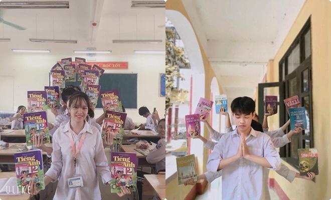 """""""Trend"""" mới của giới học đường khởi động năm học: Nhóm bạn tạo hình Phật bà nghìn tay nghìn mắt với sách giáo khoa"""