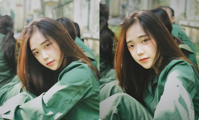 """Dân tình """"share mỏi tay"""" bức ảnh mặt mộc trong kỳ học quân sự của cô nàng được mệnh danh IU phiên bản Việt"""
