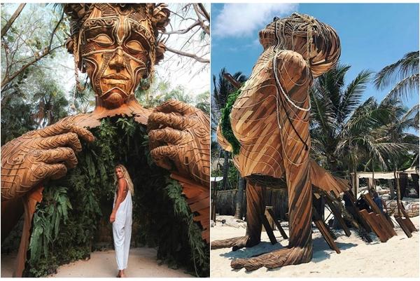 """Phát sốt trước hình nhân gỗ """"siêu to khổng lồ"""" ngay trong resort giữa rừng Mexico"""