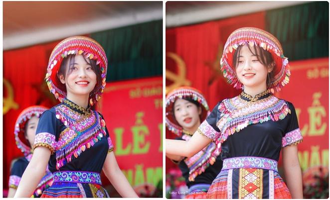 """Nữ sinh Thái Nguyên khoe vẻ đẹp thiên thần khi """"quẩy"""" tiết mục """"Để Mị nói cho mà nghe"""" ngày khai giảng"""