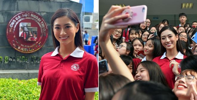 Hoa hậu Lương Thùy Linh bị sinh viên vây kín trong ngày khai giảng Ngoại thương, khẳng định tiếp tục tập trung học tập