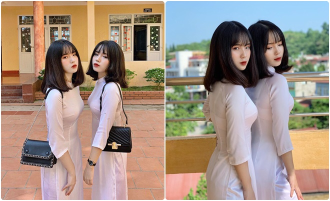 Cặp chị em sinh đôi mang tên Hằng - Nga quá đỗi ngọt ngào, dễ thương trong áo dài trắng ngày khai giảng