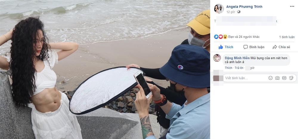 """Khoe ảnh hậu trường cơ bụng """"cuồn cuộn"""" không chỉnh sửa, Angela Phương Trinh được VĐV thể hình số 1 Việt Nam khen không ngớt lời"""