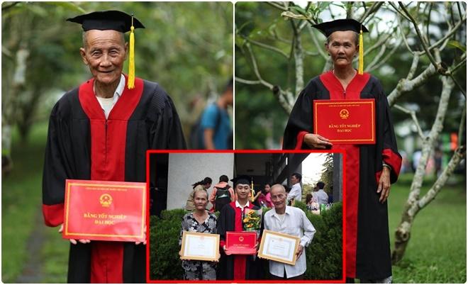 Nam sinh mặc áo cử nhân cho ông bà chụp ảnh trong ngày tốt nghiệp đại học làm xúc động lòng người