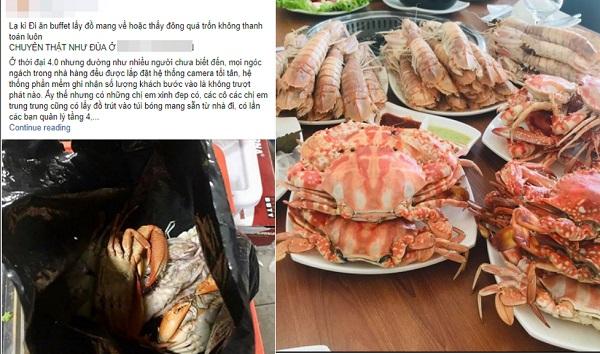 """Nhà hàng buffet ở Hà Nội """"tố"""" khách hàng quỵt tiền, mang hẳn túi bóng lấy hải sản mang về"""