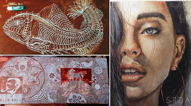 """Nổi danh với những kiệt tác trên bàn học mấy năm qua, nam sinh ĐH Duy Tân khoe thêm tranh vẽ siêu """"chất"""""""