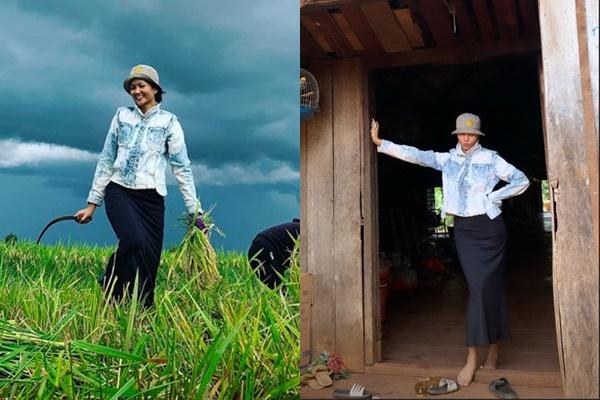 """Về quê nhà vẫn không quên tư cách Hoa hậu, H-Hen Niê đi làm ruộng cũng phải style """"chuẩn, chất"""" thế này"""